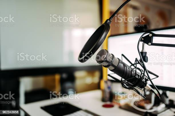Closeup Image Of Microphone In Podcast Studio Stock Photo - Download Image Now