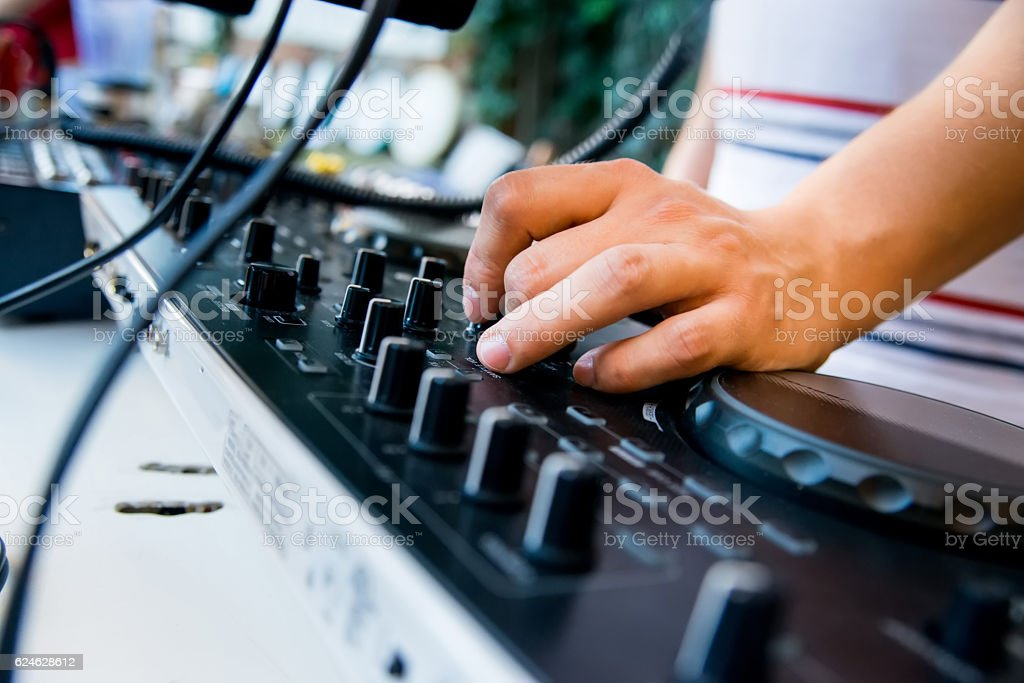 Close-up image of mixing console stock photo