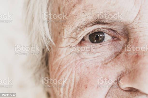 Closeup Image Of Old Womans Eye Looking At Camera Stock Photo - Download Image Now