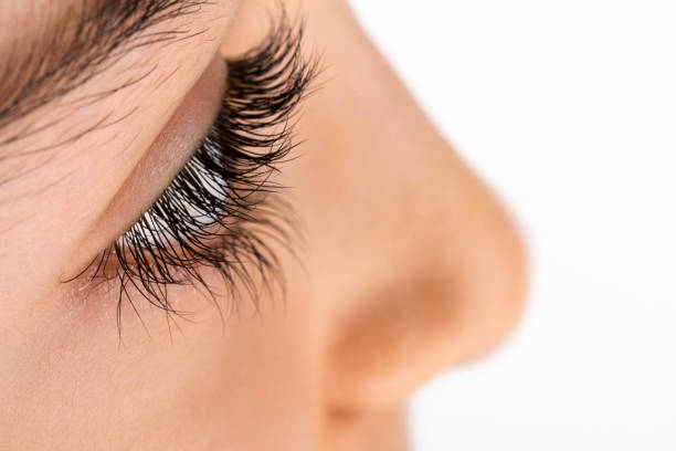 Close-up image of side view of brown eye and eyelashes stock photo