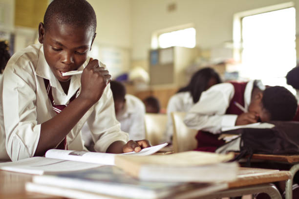 Closeup image of South African boy studying stock photo