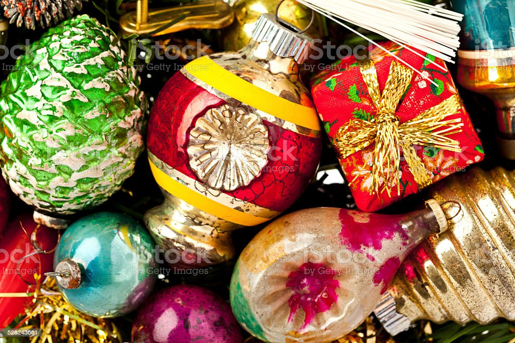 Close-Up image of vintage Christmas Ornaments. stock photo