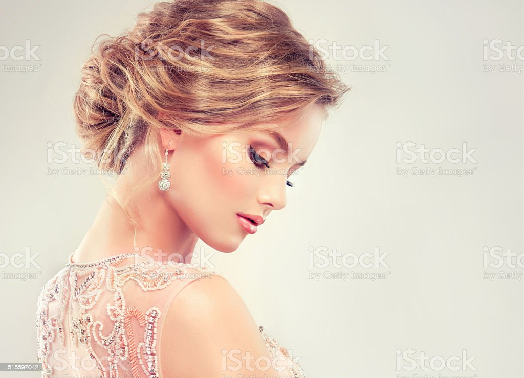 Close-up image of wedding hairstyle. stock photo