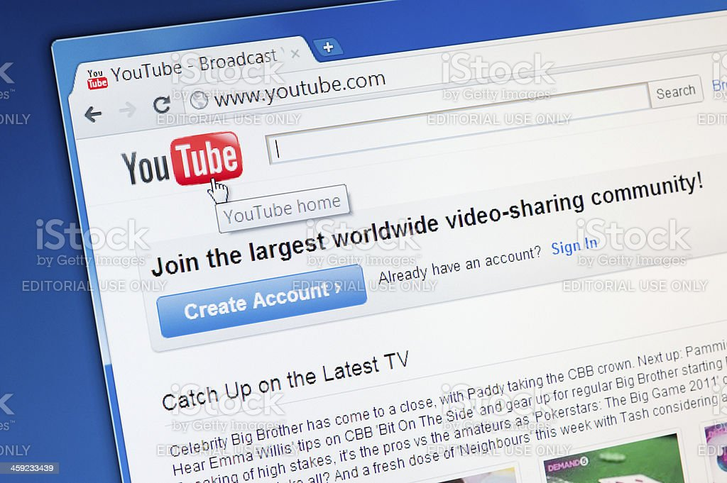 Closeup image of YouTube homepage royalty-free stock photo