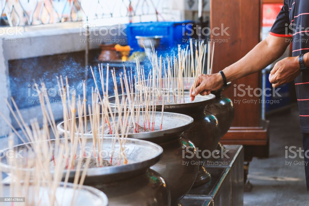 closeup incense burner with soft-focud and over light in the background stock photo
