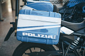 Closeup inscription police in Italian on a police motorcycle.