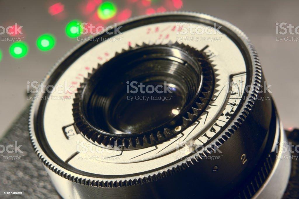 Close-up lens Photo Film camera stock photo