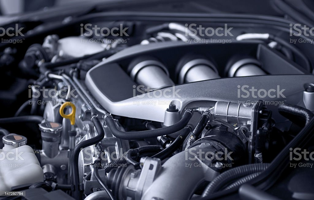 A close-up look at a car engine stock photo