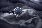 istock Closeup luxury man wrist watch black dial. 846266546