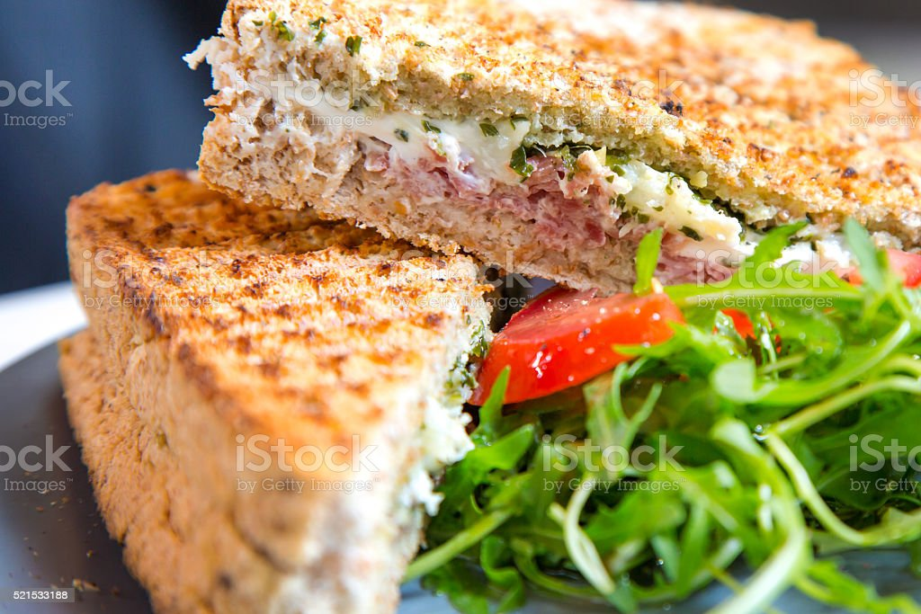 Closeup macro croque monsieur hot grilled sandwich with ham and stock photo