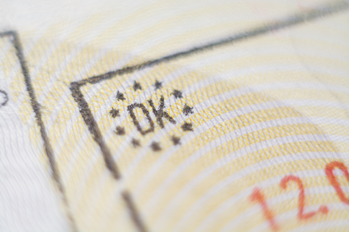 istock Close-up macro detail of European Union Danish admission stamp 1187392888