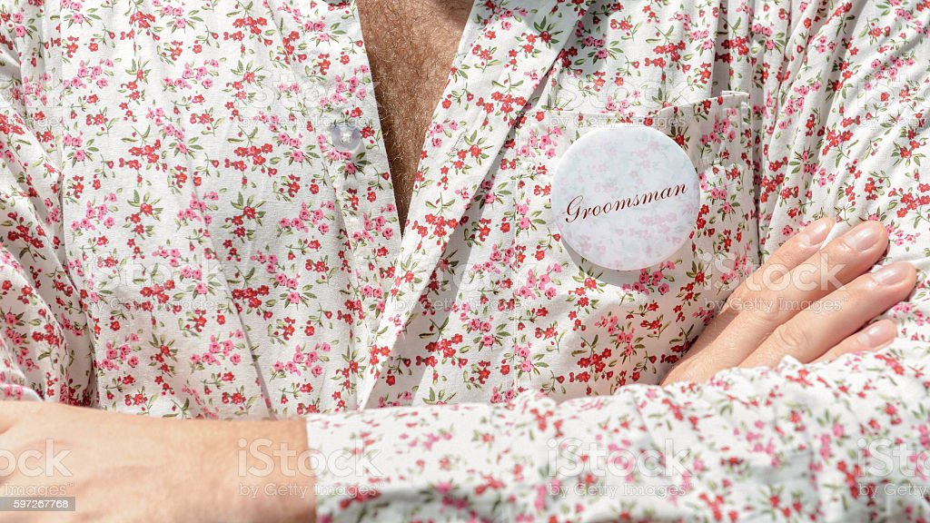 Closeup man in floral shirt. royalty-free stock photo