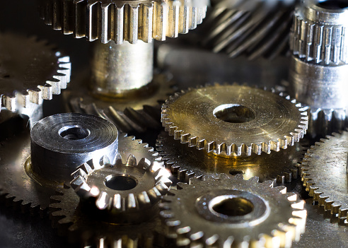 Closeup Mechanical Metal Wheels In Various Sizes Stock Photo - Download Image Now