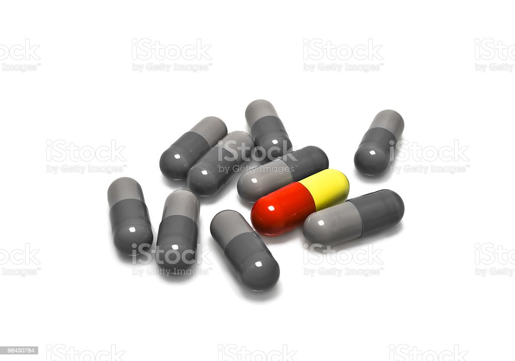close-up medical pills on a white background royalty-free stock photo