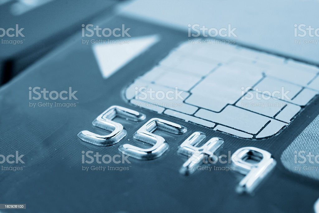 Close-Up Metallic Numbers on a Chip Card stock photo