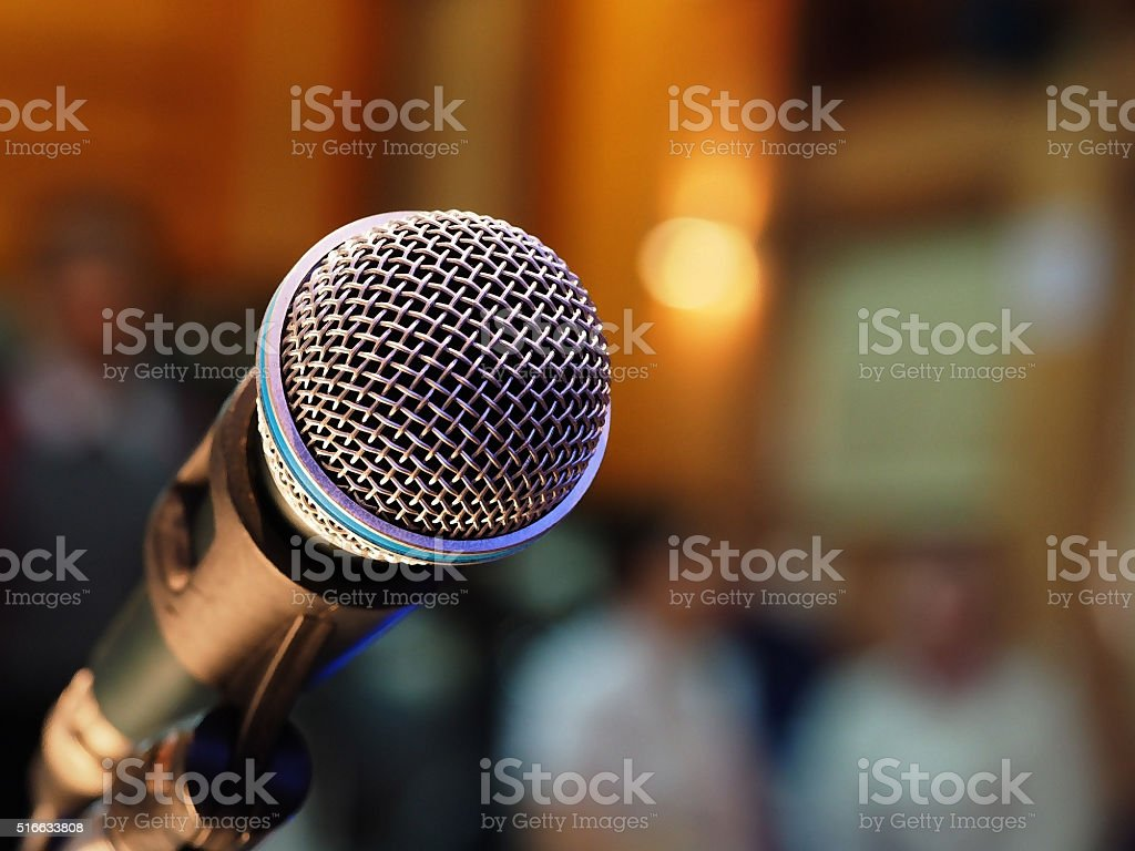 closeup microphone stock photo
