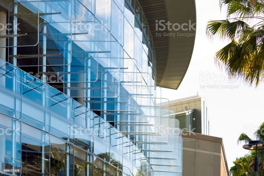 Closeup Modern Office Building, Background With Copy Space   Stock Image .