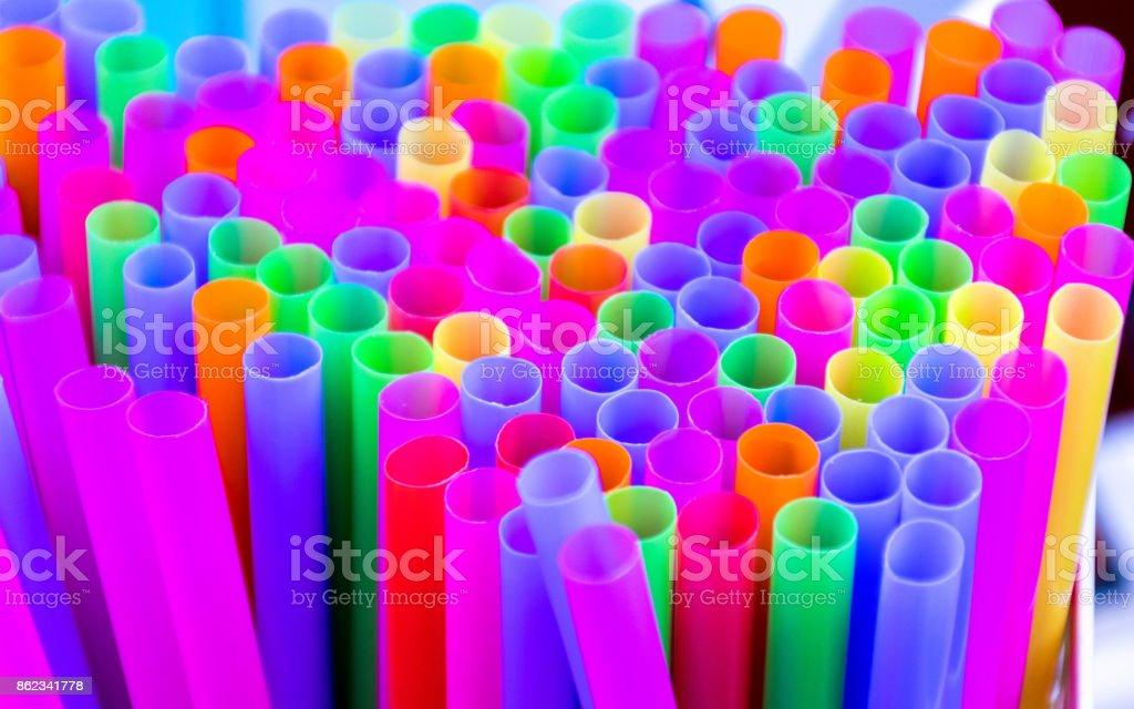 Closeup Multi Color flexible straws stock photo