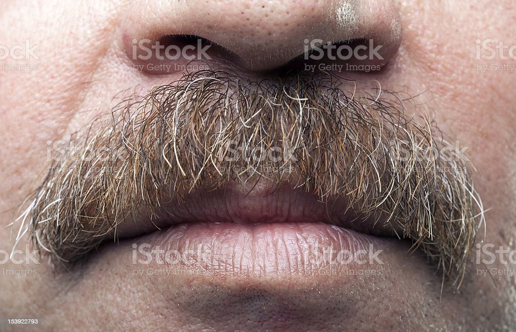 closeup mustaches and closed mouth of mature caucasian man stock photo