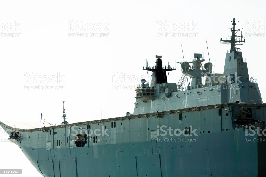 Closeup Navy ship, white background with copy space stock photo