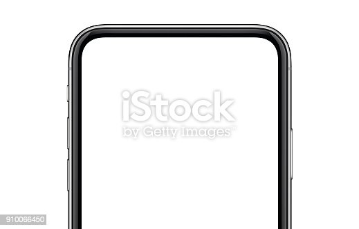 istock Close-up new modern smartphone mockup isolated on white background 910066450