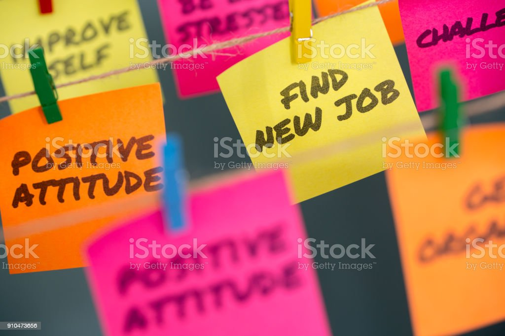 Closeup notes concept for motivation to found a new job stock photo