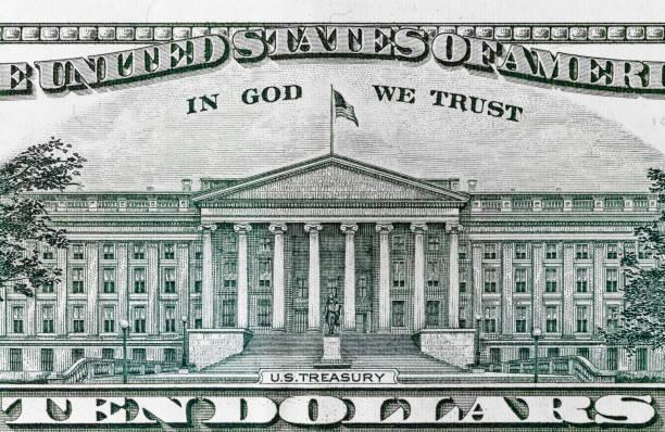 Detalle de billete de 10 dólares - foto de stock