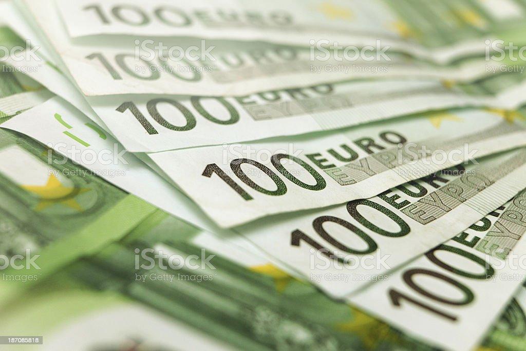 Close-up of 100 euro bill banknotes stock photo