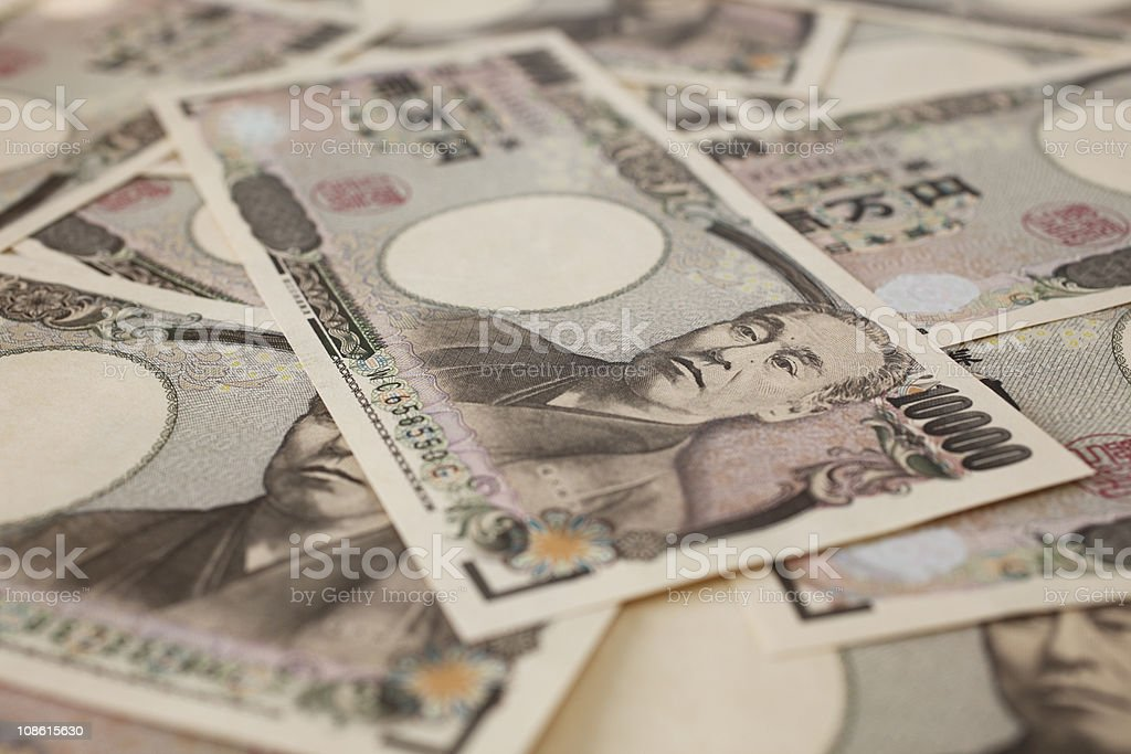 Close-up of 10,000 Japanese yen bills stock photo