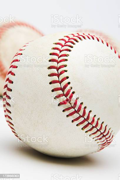 Closeup Of 3 Baseballs Against Light Gray Background Stock Photo Download Image Now Istock