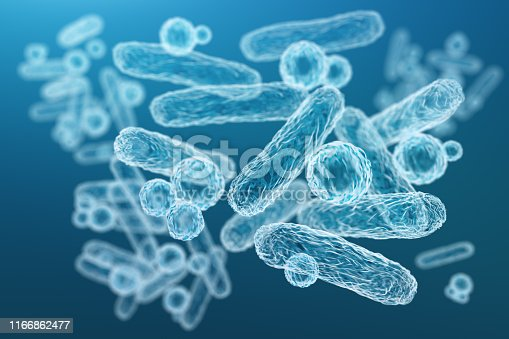 Enterobacteriaceae, gram-negative rod-shaped bacteria, part of intestinal microbiome and causative agents of different infections, 3D rendering. Escherichia coli, Klebsiella, Enterobacter and other