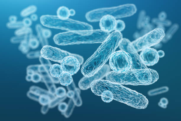 Close-up of 3d microscopic blue bacteria stock photo