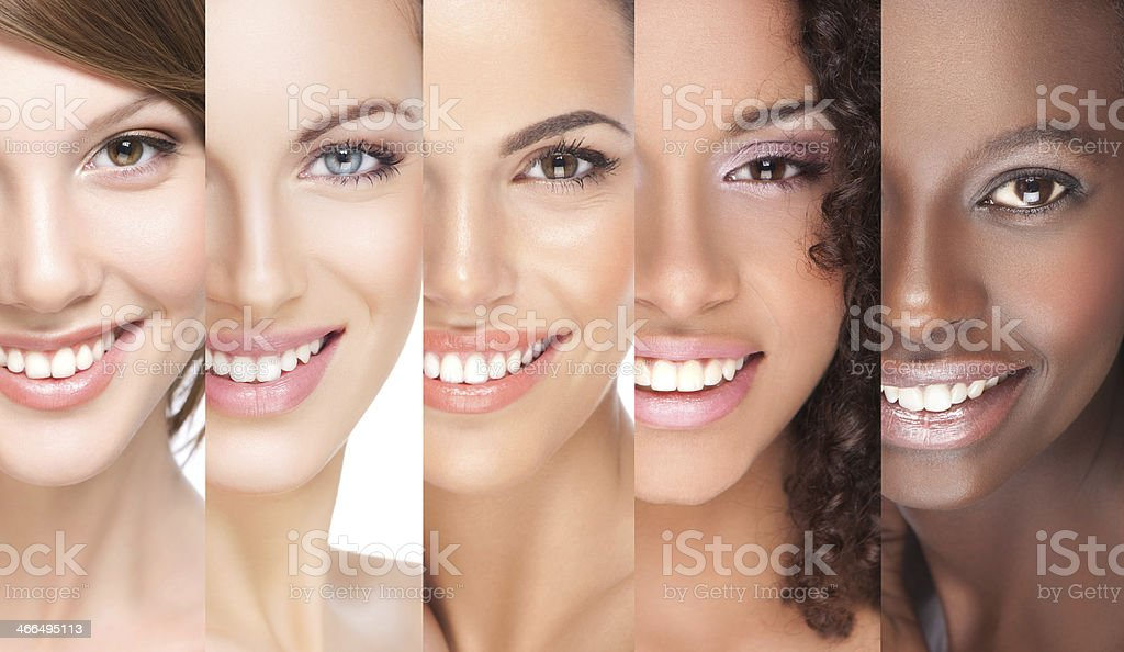 Close-up of 5 juxtaposed smiling young women royalty-free stock photo