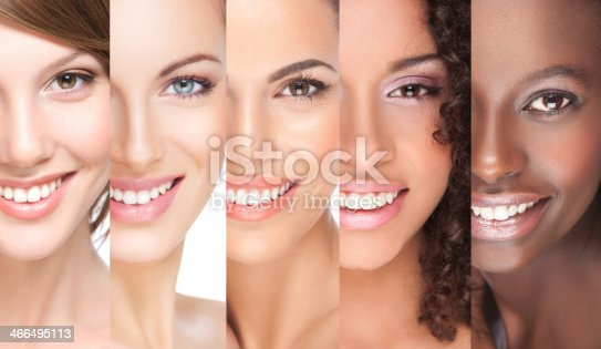 istock Close-up of 5 juxtaposed smiling young women 466495113