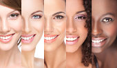 Combination of different smiling women.