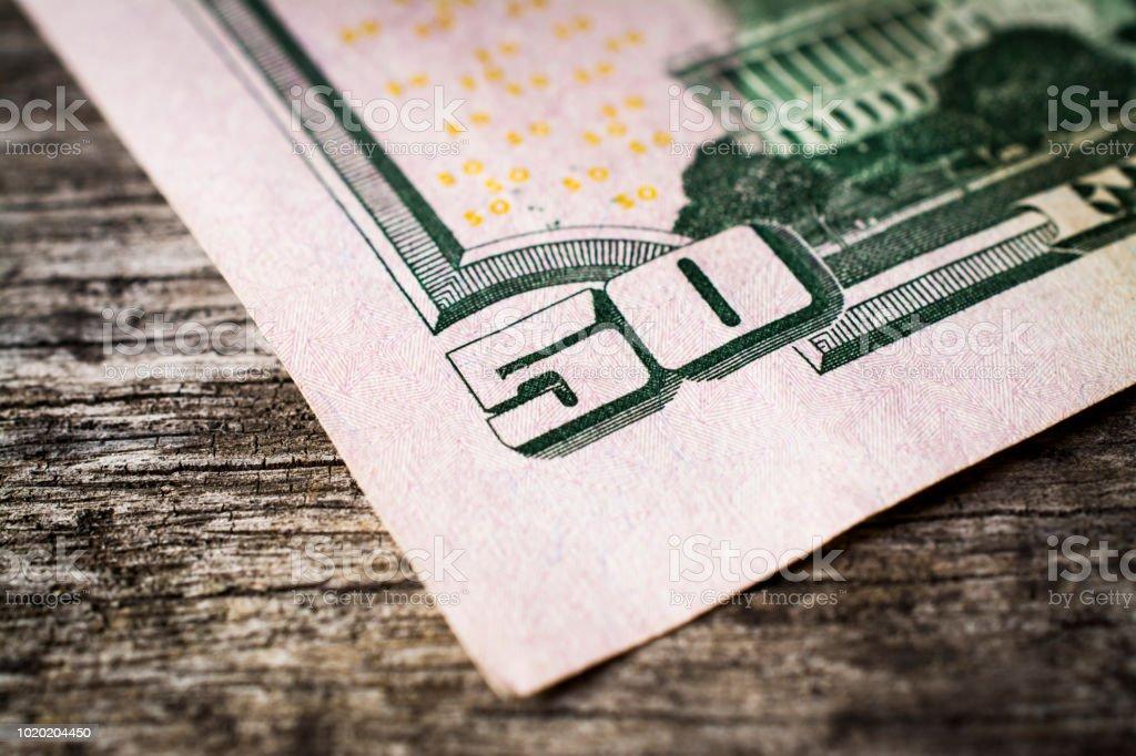 Close-up of 50 Dollar bill stock photo