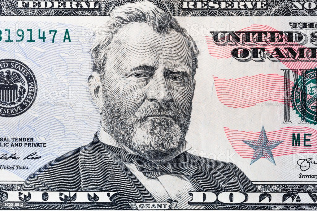 closeup of 50 dollar bill stock photo