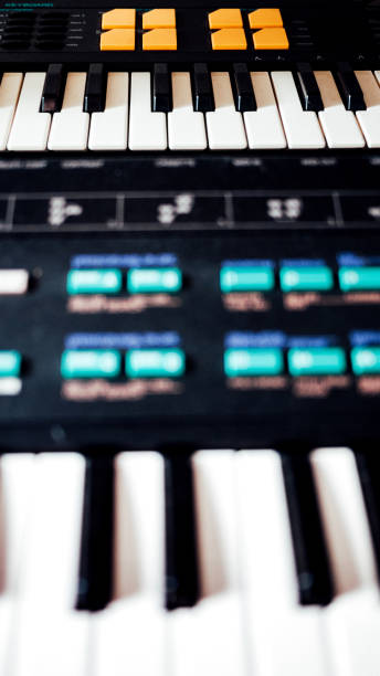 Closeup of 80s synths stock photo
