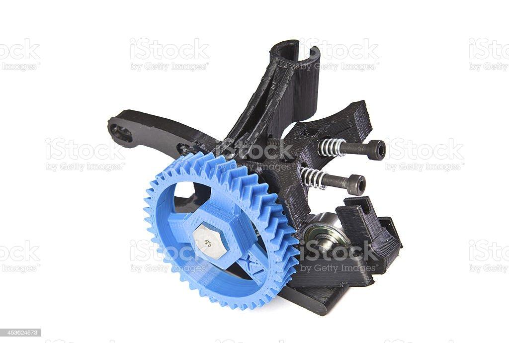 A close-up of a 3D printer herringbone gears stock photo