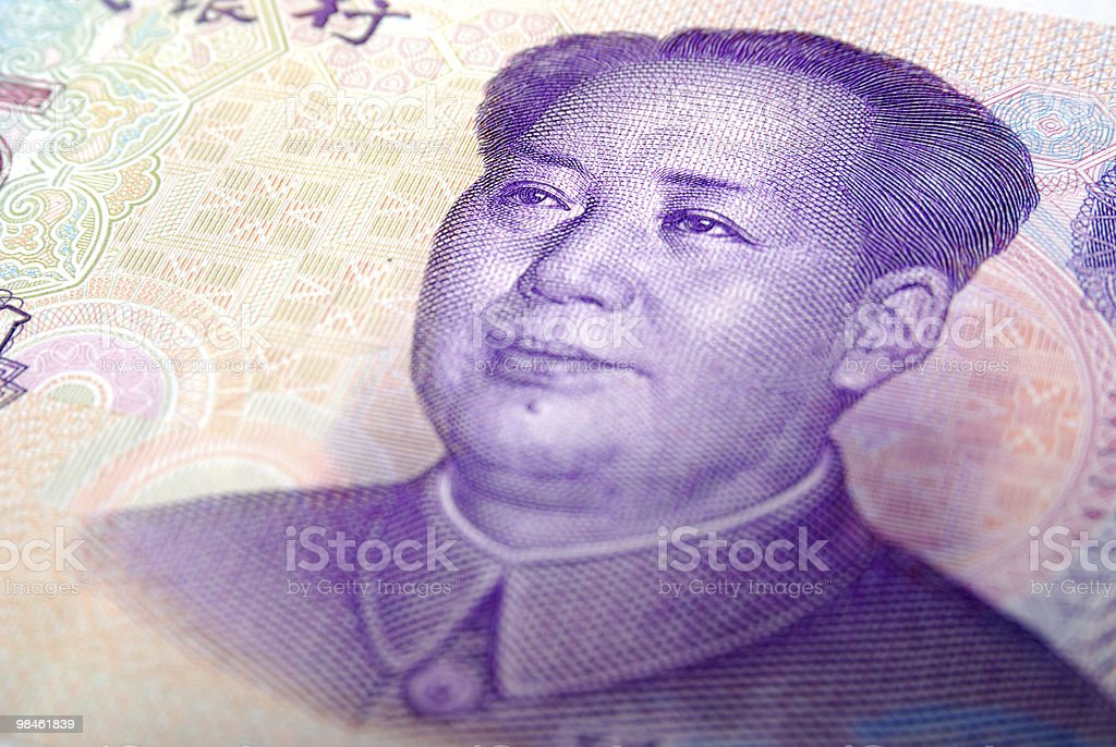 Close-up of a 5 yaun bill royalty-free stock photo
