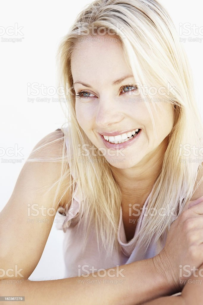 Close-up of a attractive woman smiling royalty-free stock photo