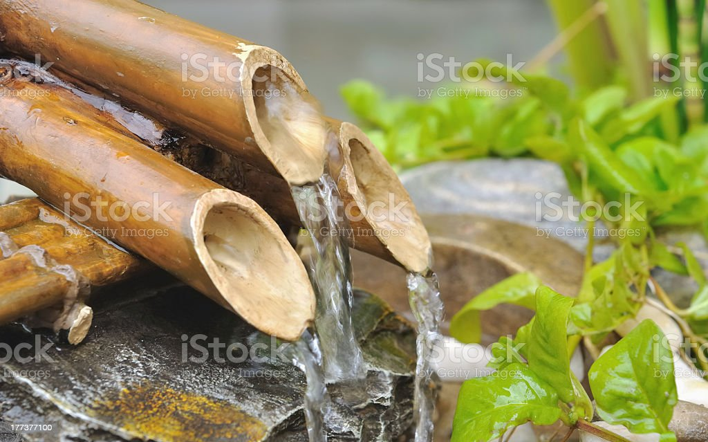 Close-up of a bamboo fountain with water running through stock photo