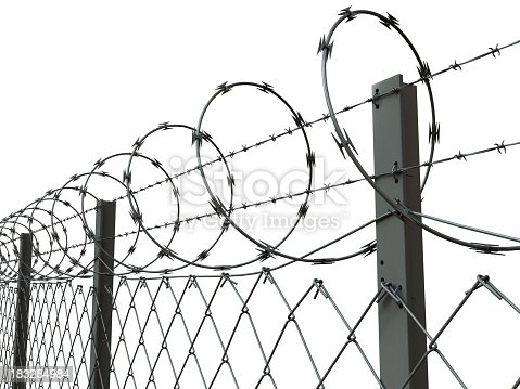 Closeup Of A Barbed Wire Fence Stock Photo & More Pictures of Barbed ...
