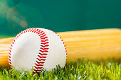 Close-up of a baseball and wooden baseball bat sitting in the outfield grass of a stadium with sunbeams.