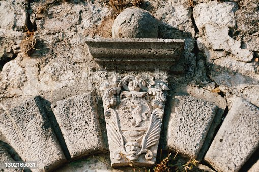 Close-up of a bas-relief of an ancient coat of arms with a lion and patterns. High quality photo