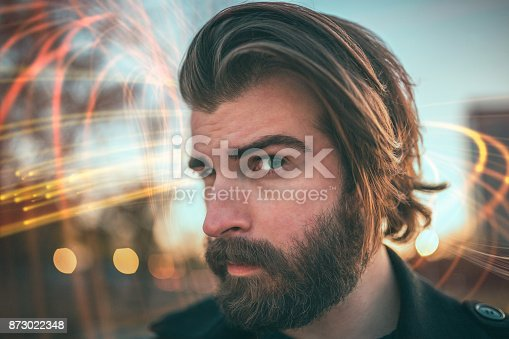 istock Close-up of a bearded man making funny face 873022348