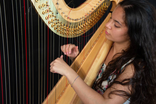 Close-up of a beautiful girl with long brown hair playing the harp. Detail of a woman playing the harp stock photo