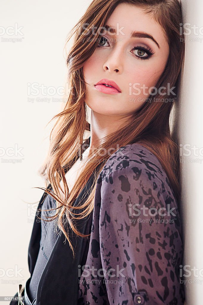 Close-up of a beautiful teenage girl stock photo