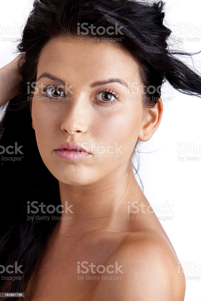 Close-up of a Beautiful woman isolated on white royalty-free stock photo
