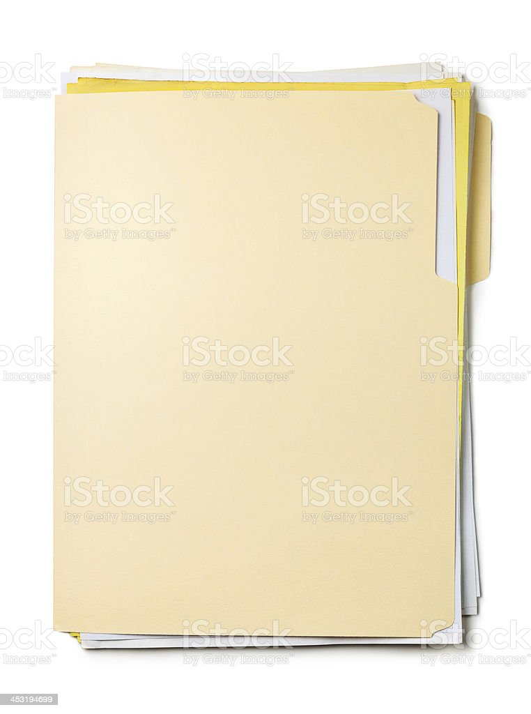 Close-up of a beige Manila folder against a white background stock photo